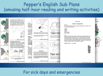 Substitute English Plans with Pepper for ages 6 and 7