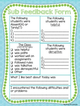 Back to School Substitute Feedback Form