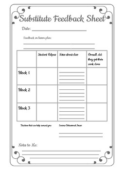 Substitute Feedback Sheet