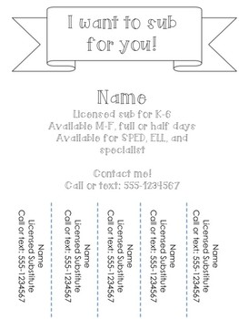 Substitute Flyer- Get yourself a sub job!