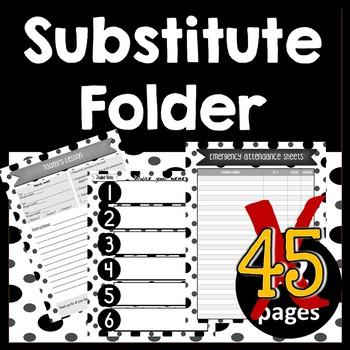 Substitute Folder / Binder-- Black, White, & Gray -- Modern Dots