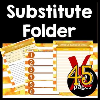 Substitute Folder / Binder -- Sunset: Yellow Gold & Dark Gold Watercolor Stripes
