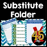 Substitute Folder / Binder -- Blue, Green, & Gray Watercol
