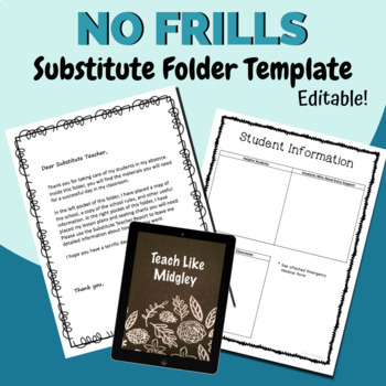 Back to School: Substitute Folder Template for Secondary