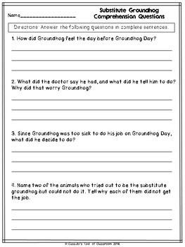 Substitute Groundhog Literacy Pack