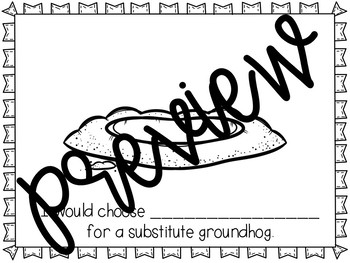 Substitute Groundhog Stick Puppets & Writing Activity Groundhog Day Activities