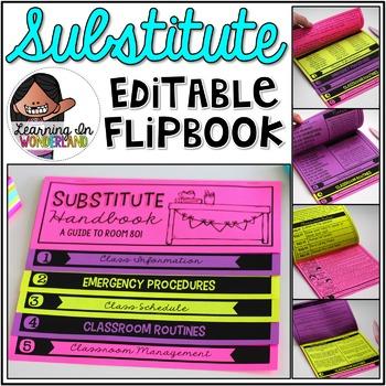 Substitute Handbook - Editable Double-Sided Flip Book {No Fuss Edition}