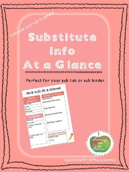 Substitute Info At a Glance