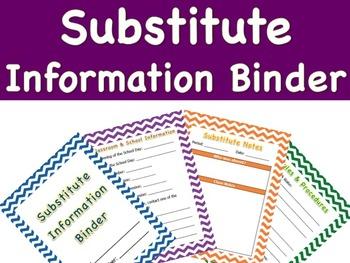 Substitute Information Binder Template - High School