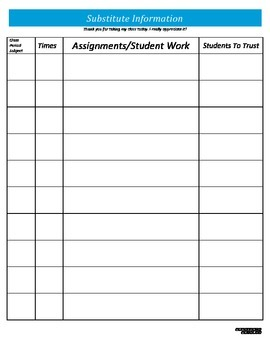 Substitute Information - Blue Packet - PP