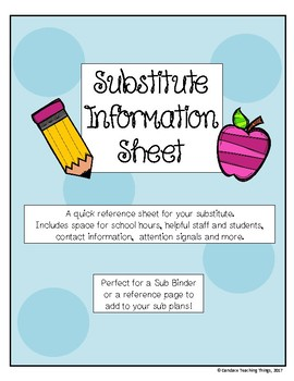 Substitute Information Sheet