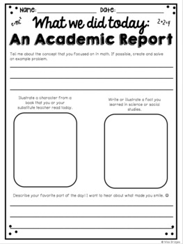 Substitute Inspired Writing Prompts and Activities
