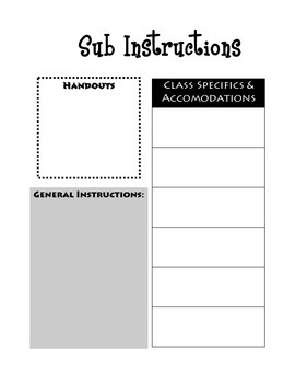 Substitute Instructions and Report