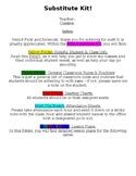 Substitute Kit Info Sheet -- Editable