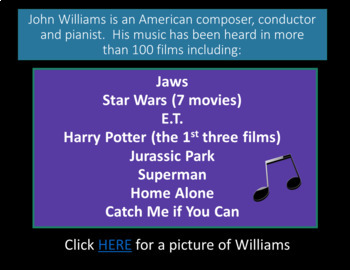 """Substitute Lesson Plan """"John Williams"""" for Middle School or High School Music"""