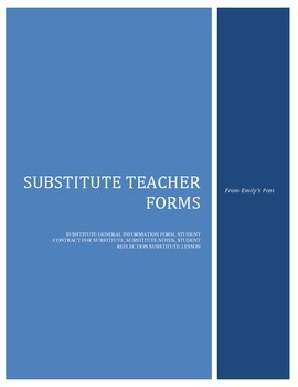 Substitute Lesson Plan: Student Contract and Forms for Substitute