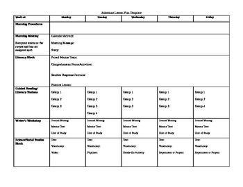Substitute Lesson Plan Template