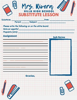 Substitute Lesson Plan Template For Spanish Class