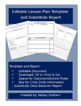 Substitute Lesson Plan and Behavior Report Template
