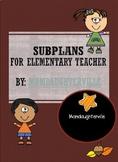 Substitute Lesson Plan for Elementary Teacher Editable