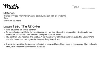 Substitute Lesson Plans - Giraffes Can't Dance Themed Sub Plans