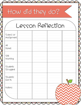 Substitute Lesson Reflection Printable