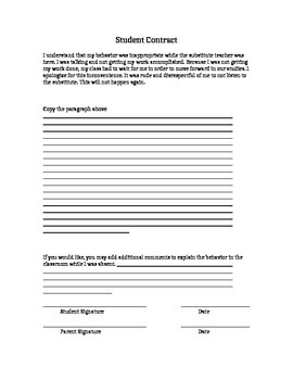 Substitute Misbehavior Contract