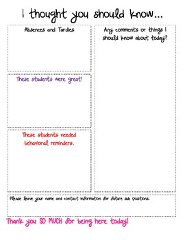 Substitute Note Sheet - I thought you should know...