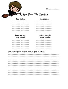 Substitute Note Template - Primary