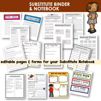 Substitute Notebook |  [Editable] | Dividers and Resource Pages