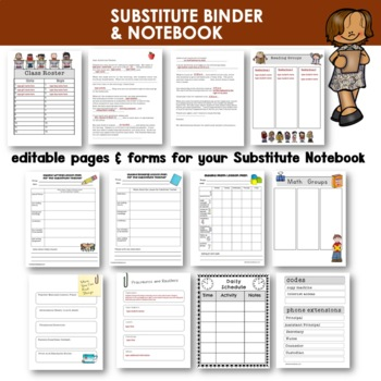 Substitute Notebook | Editable | Dividers and Resource Pages