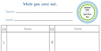 Substitute Notes **Customizable**