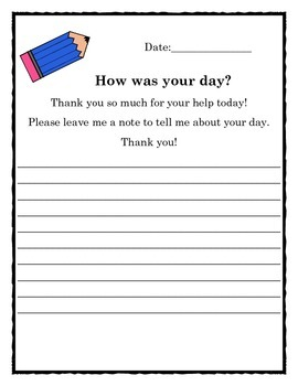Substitute Notes - How Was Your Day?