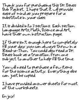 Substitute Packet - Dr. Seuss