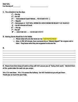 Substitute Packet for Middle School Teachers