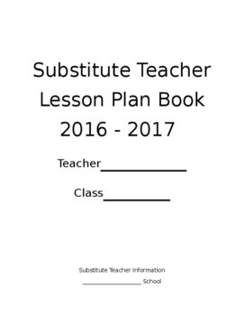 Substitute Plan Book w/13 pages of Organization
