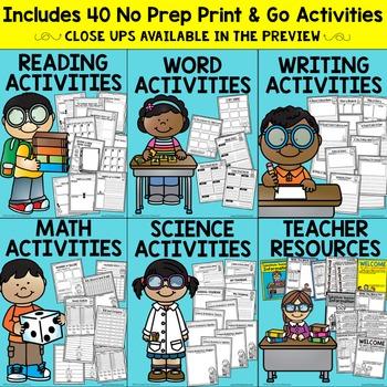 1st Grade Substitute Plans   Sub Plans FIRST GRADE   NO PREP