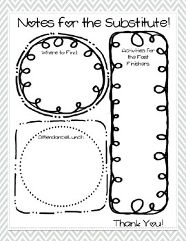 Substitute Plan Template [Gray] - Editable