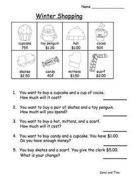 Substitute Plans: Math Plans for Primary Classrooms-Matches Winter Skill Levels