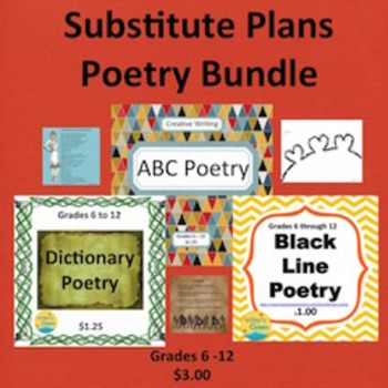 Substitute Plans Poetry Writing Bundle 1, Creative Writing, Visual Arts, Fun