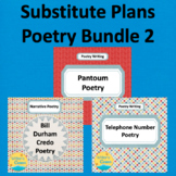 Substitute Plans Poetry Writing Bundle 2, CCSS, Creative Writing