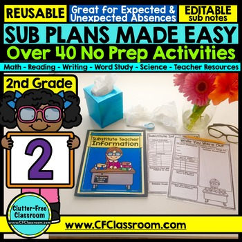 2nd Grade Substitute Plans | Sub Plans SECOND GRADE | Substitute Binder Sub Tub