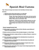 Substitute Plans-- Spanish Meal Customs