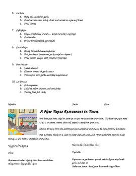 Substitute Plans-- Tapas: Intro & Make-A-Menu Activity