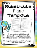 Substitute Plans Template - Easy Organization - Elementary