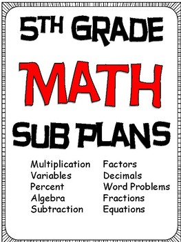 Substitute Plans for 5th Grade Math