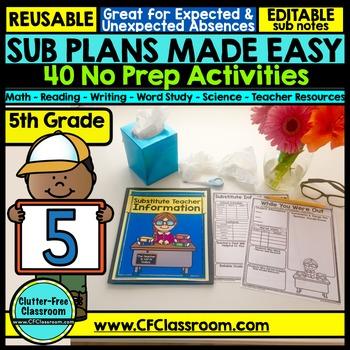 5th grade Substitute Plans | Sub Plans FIFTH GRADE | Substitute Binder | Sub Tub