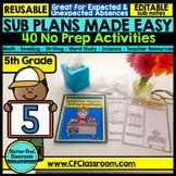 5th grade Substitute Plans | Sub Plans FIFTH GRADE | NO PREP
