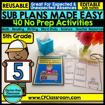 5th grade Substitute Plans | Sub Plans FIFTH GRADE | NO PREP