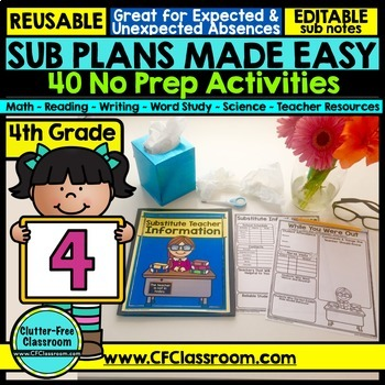 4th grade Substitute Plans | Sub Plans FOURTH GRADE | Substitute Binder Sub Tub